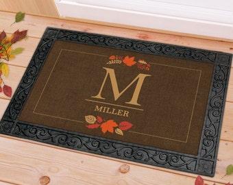 Monogram Family Welcome Fall Leaves Doormat, personalized doormat, welcome home, fall doormat, autumn leaves, floor mat -gfyU959983F