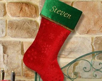 Embroidered Snowflake Christmas Stocking -gfyS34579