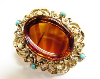Vintage Glass Cameo Brooch Turquoise Pearl Bead Tortoiseshell Glass