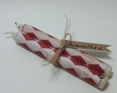 8.5 Inch Federal Candles Decoupaged With Grungy White & Red Paper For Home Decor