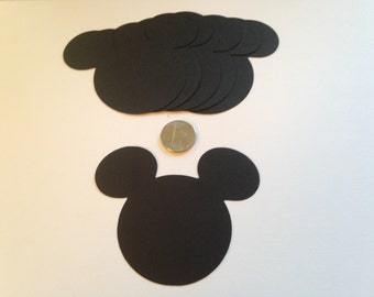 30 Large 3 inch Black Mickey Mouse Die Cut Punch Cutout Cupcake Topper Embellishment Scrapbook