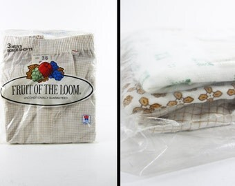 Vintage NOS 80s Boxer Shorts Fruit of the Loom Boxers 3 Pack Made in USA - Size 38