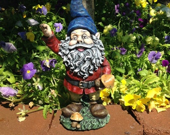 Concrete Garden Gnome Blue & Red Statue