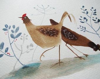 Hens in garden-original painting- original watercolor illustration-kids art-original bird illustration-hen illustration