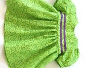 Lime Green Doll Dress Purple Ribbon Puffed Sleeves Summer Bitty Twin Baby 14 to 16 inch Baby Doll --- US Shipping Included