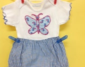 Gingham Diaper Cover, Panty Set, Cotton Tee with Butterfly of vintage cottons, blue print with cool chicks, 2pc. baby romper, size 3 months