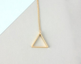 Large Single Metal Triangle Necklace (Gold)