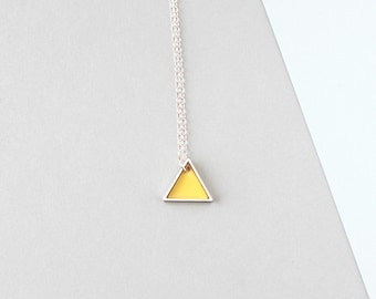 Mini Geometric Two Triangle Metal Necklace (Yellow)