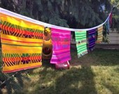 Mexican Fabric Banner -  Squares Bunting - Fiesta Wall Decor - Wall Hanging - Rustic Nursery - Wedding Garland - Children Party Decorations