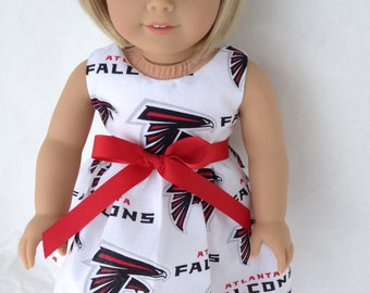 18 inch Doll Dress made with Atlanta Falconfabric,  made to fit 18 inch dolls such as American Girl and similar 18 inch dolls