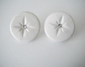 White Starburst Earrings