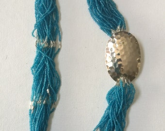 Vintage Seed-Beaded necklace with Metal Accent