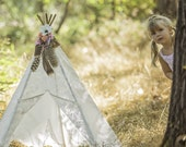Mini Ella 5 sided ivory floral lace teepee tent with oak stained wooden polls
