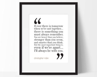 Christopher Robin Quote Print. Winnie the Pooh. Typography Nursery Print. 8x10 on A4 Archival Matte Paper