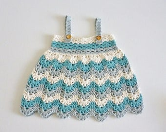 Baby dress/tunic - age 12 months - turquoise teal cream sea foam - chevrons - organic cotton