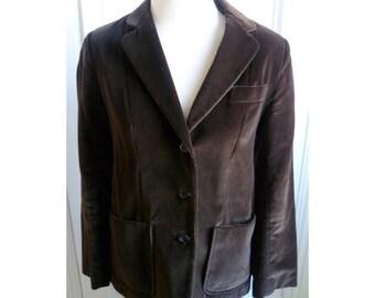 Vintage 1970s Brown Velvet Blazer - 8/M