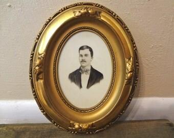Antique Art Nouveau Portrait of a Man Circa 1900-1915 in Gilded Frame