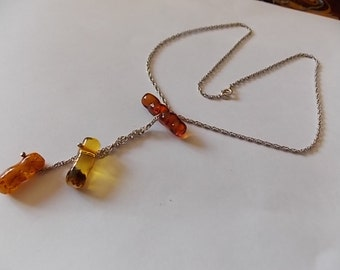 Vintage Silver Amber Necklace -LOVELY