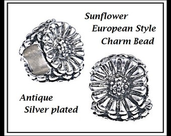 Beautiful - SUNFLOWER - Flower Design - Three-Sided Antique Silver Charm Bead - fits European Bracelets - MS