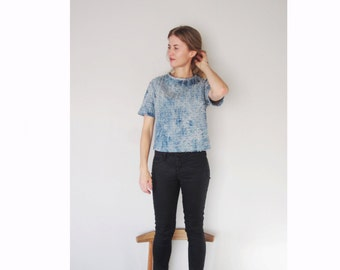 Sale - womens denim shirt, acid wash tufted blouse, blue denim tshirt