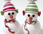 Snowman Christmas Ornament, Snowman Decoration Set in Bright Holiday White with Sage and Crimson
