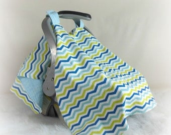 Car Seat Canopy, Car Seat Cover, Cart Cover, Blanket in Blue Chevrons