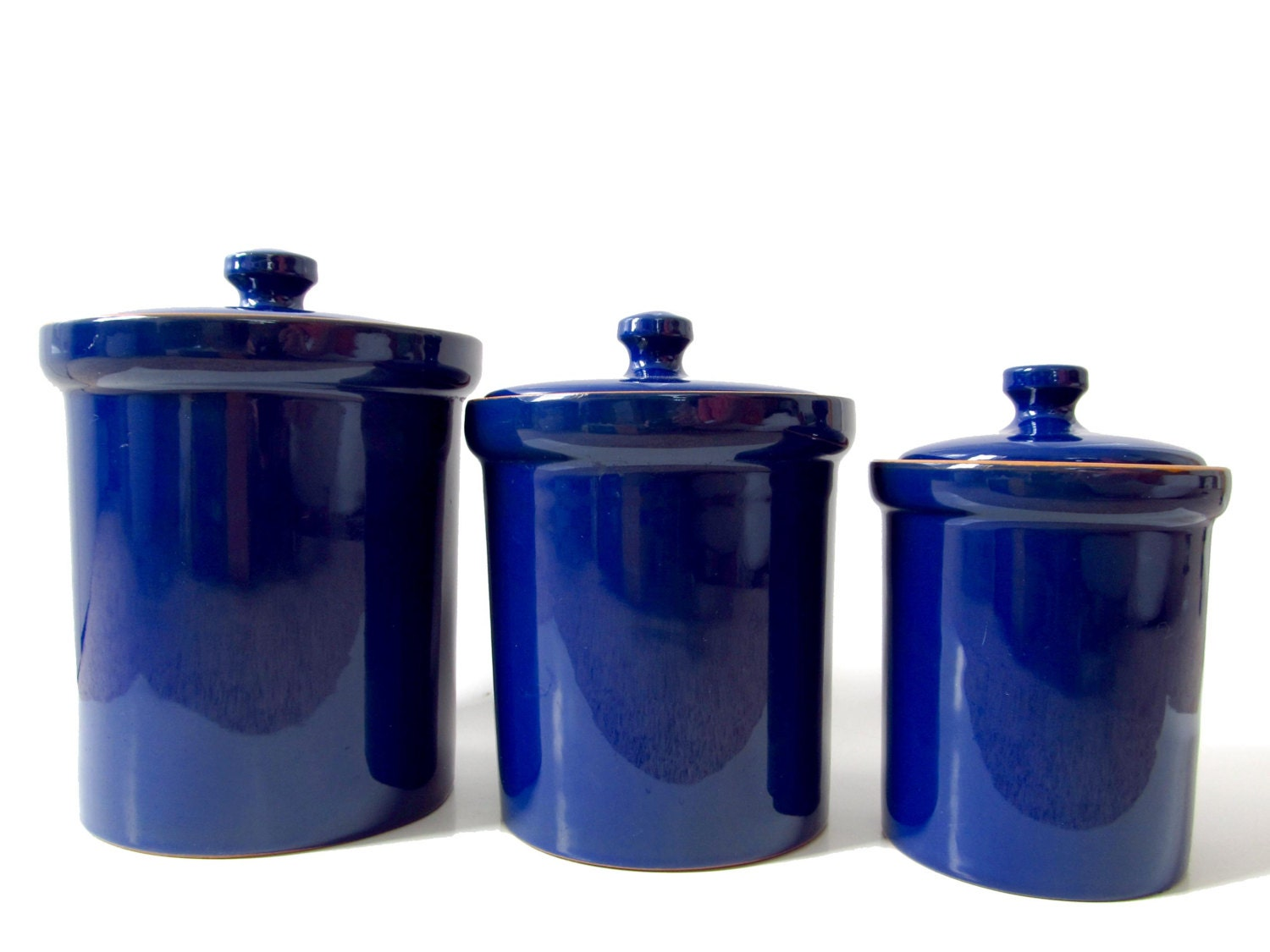 cobalt blue ceramic canister set made in italy italian kitchen 4 vintage cobalt blue ceramic kitchen canisters by rococodecor