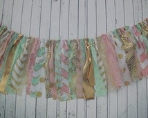 SALE Mint Pink and Gold Rag Tie Banner Ready To Ship Garland/Banner/Bunting Photo Prop