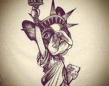 French Bulldog Statue Of Liberty / Original Sketchbook Drawing (framed)