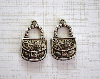 Purse Antiqued Silver Plated Metal Charm Jewelry Supplies -30X18mm- 2 Pieces