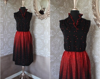 Vintage 1970's 80's Red and Black Floral Print Dress Large
