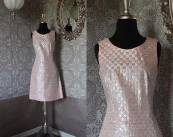 Vintage 1950's 60's Baby Pink Eyelash Fringe Dress Medium