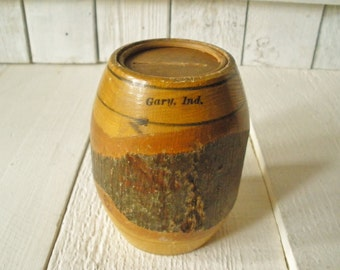 Vintage barrel bank carved wood souvenir Gary Indiana