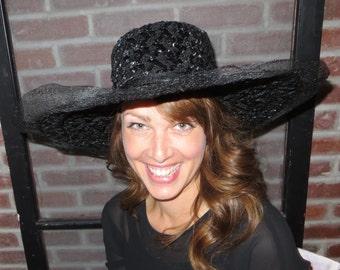 Black Hat Large Hat Womens Hat Woven Hat Sun Hat Mr John Jr Ladies Hat Vintage Hat Retro Hat 1950s Hat Black Ladies Hat Party Hat  Wide Brim