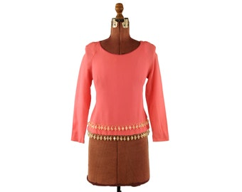 Vintage 1960's Mod Gino of California Bright Pink Crepe Diamond Beaded Fringe Blouse Shirt Top S