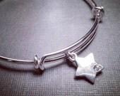 Silver Bangle with Star and Rhinestone Crystal Charm