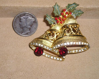 Vintage Holiday Christmas Bells Brooch With Rhinestones Enamels 1960's Signed Jewelry H37