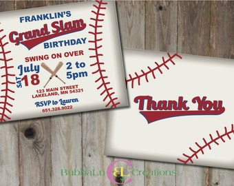 Baseball Birthday Invitation and matching Thank You. Personalized Baseball Invite. Baseball Birthday. Custom Birthday Invitation.
