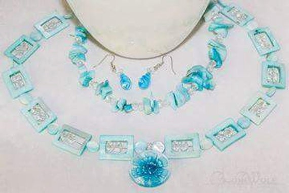 Lampwork Glass Necklace, Mother-of-Pearl Necklace, Blue Necklace, Handmade Necklace, Crystal Necklace, Multi-Strand Necklace