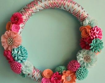 Felt Flower Wreath, Mint and Peach Wreath, 14 inch Chevron Felt Flower Wreath/ Modern Mint and Peach