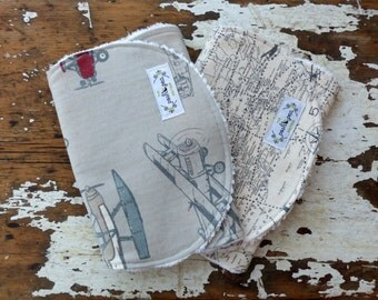 Baby Boy Burp Cloths - Set of 2 - Vintage Airplanes, Flight Map in Grey, Brown, Red and Slate Blue