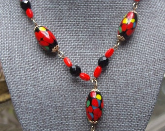 Vintage Necklace with Multicolored Stones