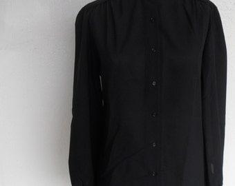 Vintage Judy Bond Blouse Polyester Size 12 Black Long Sleeve