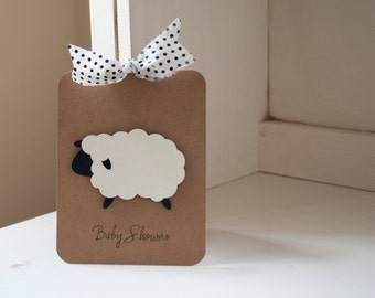 Sheep Lamb Baby Shower Invitations Thank You Notes Black and White Polka Dot Kraft Rustic Vintage Neutral