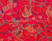 C703 - 1 meter Cotton Twill  Fabric - Red flowers and leaf