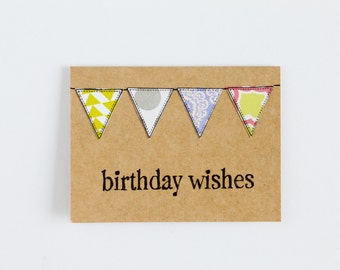 BULK 24 Birthday Card Set, CHOOSE White or Kraft Assorted Bunting, Hand Stamped, 3x4 Inch Heavy Card Stock