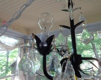 Baby girl nursery, children's modern style 3 light flower black chandelier with prisms