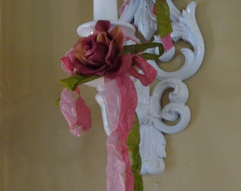 1 White shabby chic Syroco wall sconces with Rose applique white candle with ribbon and roses