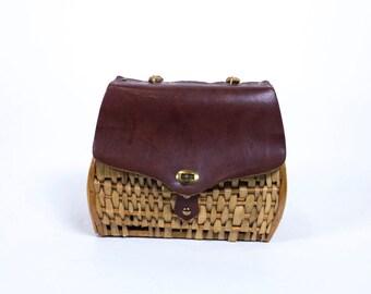 Vintage 1960s Wicker Basket Flap Brass Turn Lock Top Handle Wood Basket Handbag