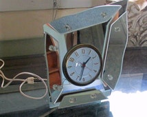 Mid Century Clock, Unusual Mirror Clock,  Abstract Shaped Gilbert Clock, Modern Vanity Clock, Assemblage of Mirrors,